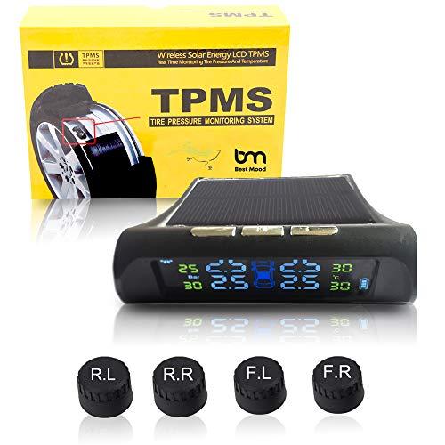 ZEEPIN Reifendruckkontrollsystem Auto TPMS Reifendruck Kontrollsystem Reifendruckmesser mit intern Solarzelle,4 Externe Sensoren, LCD Display (Reifendruck und Temperatur anzeigen) für Auto, SUV, KFZ