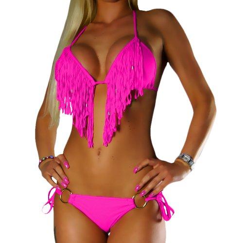 ALZORA Bikini Set Damen Tassel Fransen Fringe Ringe Push Up Set Top und Hose viele Modelle und Farben, 10209 (L, Hellpink mit Ring)