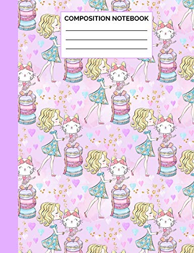 Composition Notebook: Girl with Her Ballerina Cat Wide Ruled Lined Note Book - Cute Pink, Blue &Purple Journal with Lines for Kids Teens, Students or ... Lined Pages / 50 Sheets - Size 7.44 x 9.69