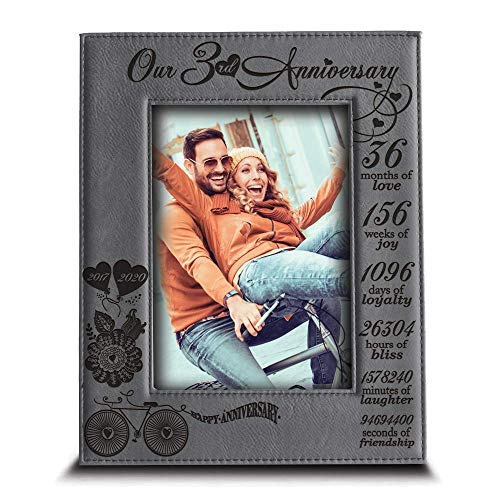 BELLA BUSTA- Our 3 Years Anniversary -2017-2020- Years,Months, Weeks, Days, Hours, Minutes, Seconds- Engraved Leather Picture Frame (4 x 6 Vertical)