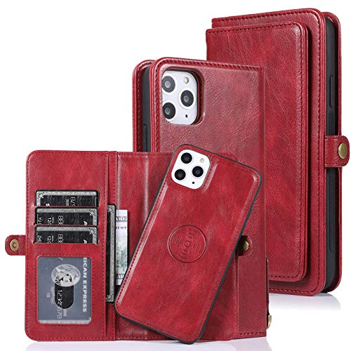 ZHTY Detachable Wallet Case Compatible with iPhone 12/12Pro(6.1'), 2 in 1 Flip Magnetic Leather Wallet Cover [11 Card Holder], Multi-Function Phone Case for iPhone 12/12Pro,Green SONG (Color : Red)