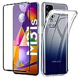 Lifeacc für Samsung Galaxy M31s Hülle und 3D Panzerglas Vollständige Abdeckung, Durchsichtig Dünn Silikon Handyhülle für Samsung M31s Schutzhülle