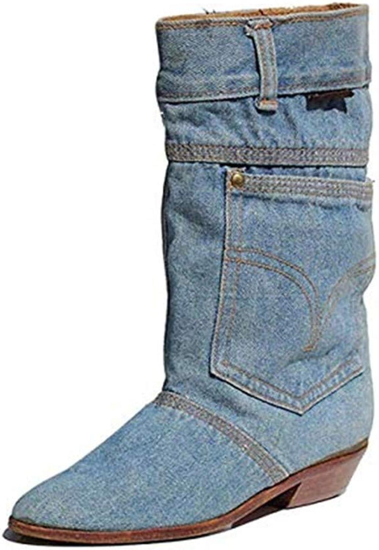 HN Stiefel Damen Stiefeletten Denim Knöchel Stiefel Freizeit Mode Warmhalten Blau Herbst Winter Schuhe Größe 35-46, Blau  | Verschiedene