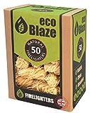 Encendedores Naturales de Eco Blaze - Cera Natural Cubierta con Lana de Madera de Abeto y Caja 50. Arrancadores de incendios para estufas de leña, estufas, carbón de leña, chimeneas y fogatas