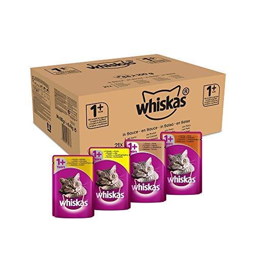Whiskas Selezione in Salsa 84 Buste da 100 gr al Gusto di Pollo, Anatra, Tacchino e Carni Bianche, Adulto