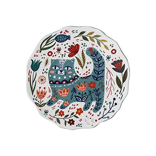 Plato de cena de colorido colorido de 8 pulgadas Platos de cerámica de cerámica bajo esmaltado Postre Bandeja Flor Gatito Servicio de vajilla Microondas Caja fuerte (Color : C)