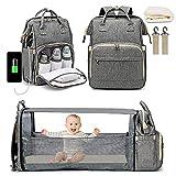Diaper Bag Backpack, 3 in 1 Diaper Bag Backpack Travel Bassinet Portable Baby Bed, Portable Foldable Mommy Bag for Baby Girls Boys Maternity Mom (Grey)