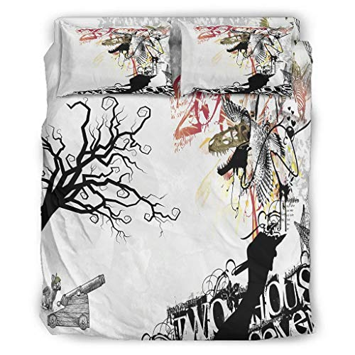 Halloween Black and White Tree Four Piece Bed Twin Four Piece Bed Linen with Zip Includes Breathable 1 Duvet Cover & 1 Duvet Cover & 2 Pillowcases White 175 x 218 cm
