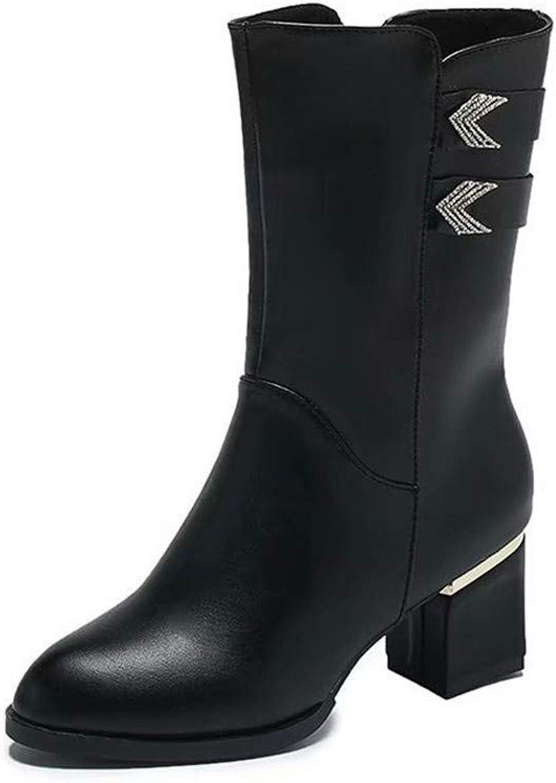 Eeayyygch High Heels Stiefel Kinderstiefel dick mit vielseitigen warmen Martin Stiefel Damen (Farbe   36, Größe   Leather Surface)    Günstige    Starker Wert    Konzentrieren Sie sich auf das Babyleben