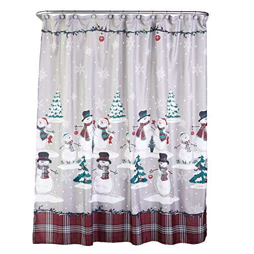 SKL HOME by Saturday Knight Ltd. Plaid Snowman Shower Curtain and Hook Set, Multicolored