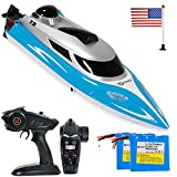 Contixo T2+ RC Boat Remote Control Boats for Pools and Lakes, 20+ mph 2.4 GHz Racing Boats for Kids and Adults with 2 Rechargeable Batteries, Low Battery Alarm, Capsize Recovery, Gifts for Boys Girls