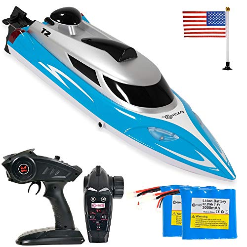 Contixo T2 RC Boat - Remote Control Racing Sport Speedboat - Perfect for Swimming Pool Toy Ship/Lakes/Rivers/Great for Kid Pool Toy - RC Boats for Adults and Kids - Recreational Hobby Best Gift-Blue