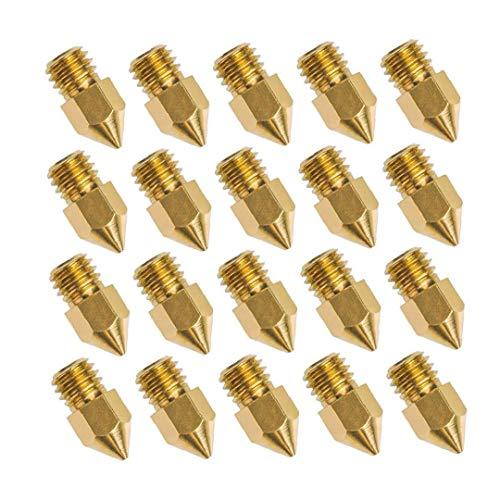 Stampante 3D ugello Multi Uso Ottone Riparazione ugello di estrusione testina di stampa ugello metallo portatile per stampante Accessori Stampante Strumento 20pcs 0,4 millimetri