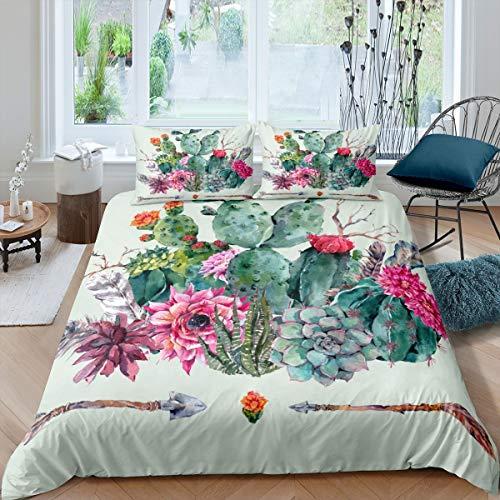 Feelyou - Juego de ropa de cama con diseño de cactus boho suculentas, para niños, mujeres, adultos, botánico, estampado floral, colcha para recámara, colección de 3 piezas, tamaño Queen