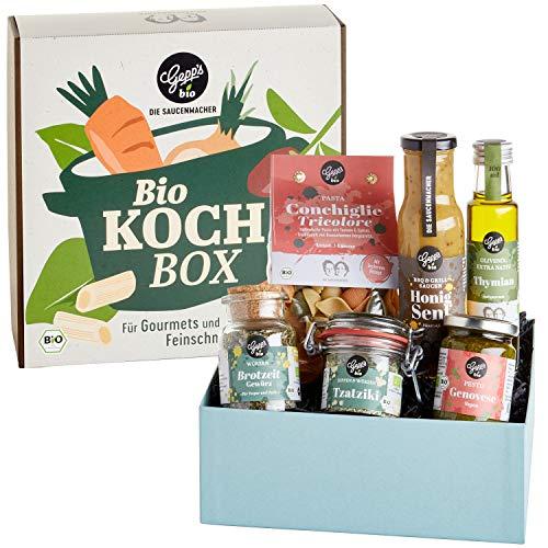 Gepp's Feinkost BIO Kochbox I 6 Bio-Produkte aus unserer Delikatessenwelt I Italienische Pasta Conchiglie & Pesto, Brotzeit-Gewürz, Tzatziki Dip, Honig-Senf Sauce & Thymian Olivenöl (A0043)