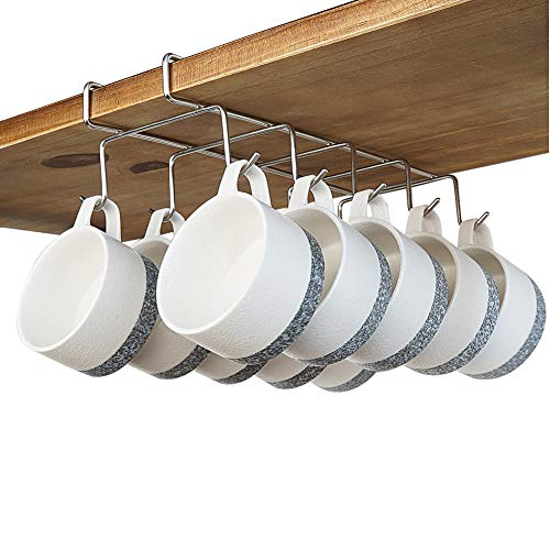 bafvt Coffee Mug Holder - 304 Stainless Steel Cup Rack Under Cabinet, 10Hooks, Fit for The Cabinet 0.8' or Less