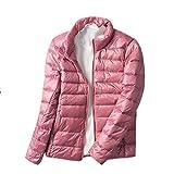 Chaqueta De Pluma Ultra Ligera Mujer Abrigo Cortas Parka De Invierno Übergangsjacke Pink S