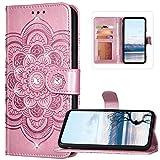 Bling Diamonds - Funda tipo libro para Nokia 1.3, diseño de flores de mandala, piel sintética, cierre magnético, con tarjetero, función atril, color dorado rosa