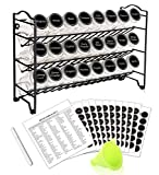 SWOMMOLY Spice Rack with 24 Empty Square Spice Jars, 396 Spice Labels with Chalk Marker and Funnel Complete Set, for...