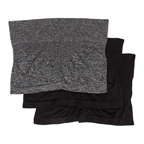 kathy ireland Womens 3 Pack Boyleg Underwear Body Shaper Elastic Waist Panties Charcoal Heather/Black/Midnight Black Medium