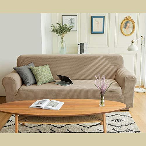 Funda Universal Universal de Cuatro Estaciones en Forma de U de Estilo Europeo, Funda de sofá Flexible con Todo Incluido, cojín de sofá Caqui de 90-140 cm de Asiento Individual