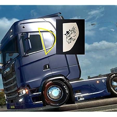 2 X Edelstahl Bettfensterplatten Mit Lasergravur Griffins Für Scania S Ab 2016 Chrom Poliert Auto