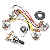Swhmc Guitar LP 2V 2T 3 Way Toggle Switch Wiring Harness Kit Big 500K Pots Jack Les Pual Style Black Tip Cap Electric Guitar Replacement