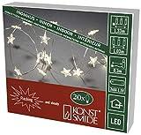 Konstsmide 3199-103 LED Dekolicherkette 'Sterne' / für Innen / VDE geprüft / Batteriebetrieben: 3xAA 1.5V (exkl.) / mit Schalter und Funkleeffekt / 20 warm weiße Dioden / transparenter Draht