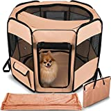 Dog Playpen with Blanket – Portable Soft Sided Mesh Indoor & Outdoor Exercise Play Pen for Pets - Beige