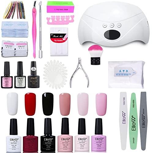 Elite99 Smalto Semipermanente per unghie Kit di Partenza in 6 coloris Gel 48 W LED Lampada UV Nail Dryer Soak Off Topcoat Basecoat Nail Art Tool Set di Adesivi per Manicure Set per Manicure 10ML