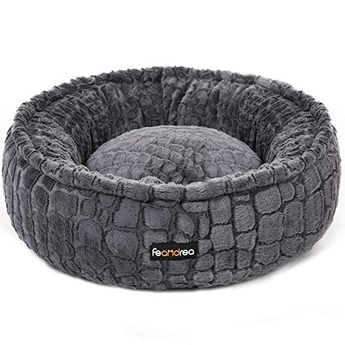 FEANDREA Dog Bed, Pet Bed, Plush, Washable, Anti-Slip Bottom, Round, 23 Inches Dia, Gray UPGW057G01