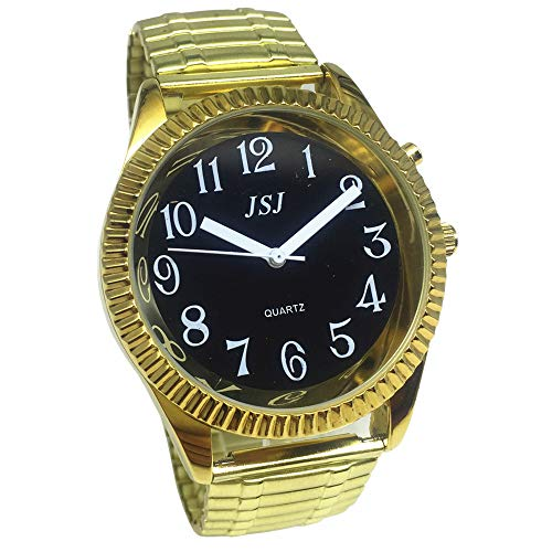 Sprechende Armbanduhr, analog, mit Alarm, Uhrzeit und Datum auf Französisch, für Sehbehinderte, goldfarben, Armband ausziehbar TUF-G302