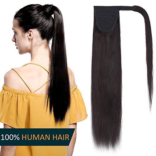 Queue de Cheval Cheveux Naturel Extension Rajout Vrai Cheveux Humain Lisse - Ponytail Hair Extensions Attaché par Bande Agrippantes Adhésives - #1B NOIR NATUREL - 22 Pouce