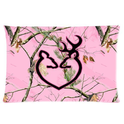 Pink Camo Realtree Trees Camouflage Hunting Browning Infinity Logo Cool Personalized Custom Cotton Polyester Soft Rectangle Pillow Case Cover 2030 inches (One Side)