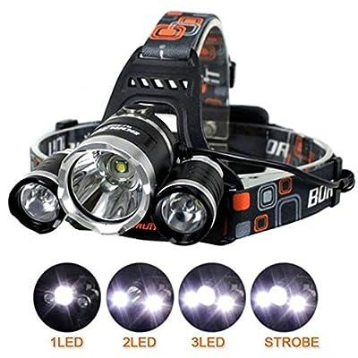 Ciamlir Brightest 6000 Lumen Headlamp Flashlight Torch 3 CREE XM-L T6 LED for Reading Outdoor Running Camping Fishing Walking