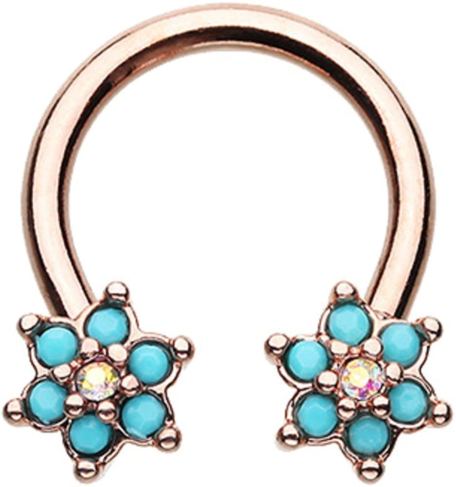 Rose Gold Turquoise Spring Flower Sparkle WildKlass Horseshoe Circular Barbell