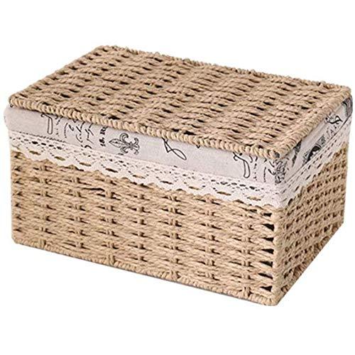 Dust Baskets Storage Box Breathable Rattan Basket with Lid 2 Colors,Beige,40cm*30cm*21cm