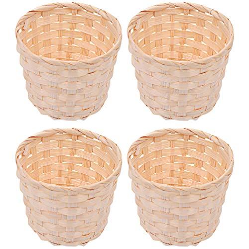 Non Branded 4 Unids Mini Juegos de Canastas de Mimbre Pequeñas Cestas de Bambú Cestas de Almacenamiento Tejidas de Pasto Marino Canasta de Flores Maceta Contenedor