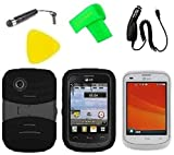 Heavy Duty Hybrid Phone Case Cover Cell Phone Accessory + Car Charger + Extreme Band + Stylus Pen + LCD Screen Protector Guard + Yellow Pry Tool for For Tracfone StraightTalk LG 306G LG306G (S-Hybrid Black Black)