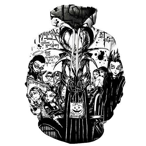 WBYFDC Felpa con Cappuccio 3D Stampata Digitale di Halloween da Uomo Unisex Divertente Felpa con Cappuccio da Donna Harajuku Pullover con Cappuccio Primavera Autunno Manica Lunga Tuta Casual
