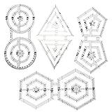 WUYANSE Regla de costura acrílica, regla de costura para patchwork precisa, transparente, doble grosor, pentagón, hexagonal, herramienta de costura triangular