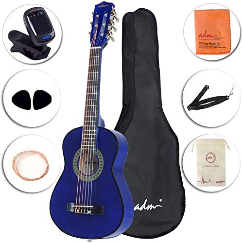 ADM Beginner Classical Guitar 30 Inch Nylon Strings Wooden Guitar Bundle Kit with Carrying Bag & Accessories, Blue