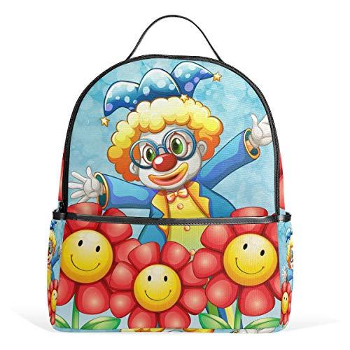 Cartoon niedlichen Clown Blume Rucksack Rucksack perfekte Schulreise Kindertagesstätte für Teen Boys Girls
