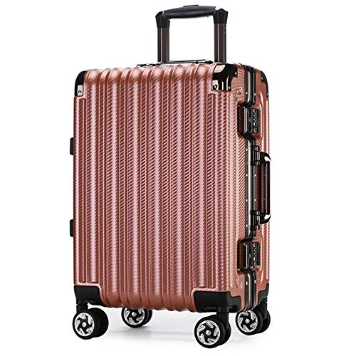 Lightweight Hardshell Luggage, Large Capacity with TSA Lock Spinner Silent Universal Wheel Sturdy Durable Tie Rod Suitcase for Adults Traveling School-70cm-Rose Gold
