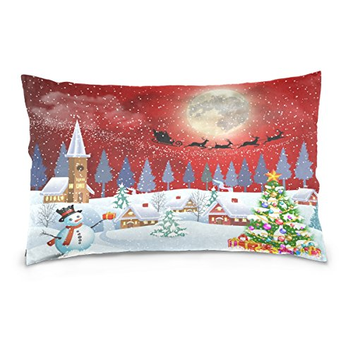 ALAZA Happy New Year Christmas Holiday Cotton Standard Size Pillowcase 26 X 20 Inches Twin Sides, Santa Claus Snowman Snowflakes Christmas TreePillow Case Sham Cover Protector Decorative for Couch Ded