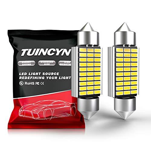 TUINCYN 39MM LED Ampoules Blanc 30 SMD 3014 Puce DE3425 DE3423 Ampoules Intérieur de la voiture Lumière de la plaque d'immatriculation Lumière Dôme Porte ampoule Courtoisie (2-Pack)