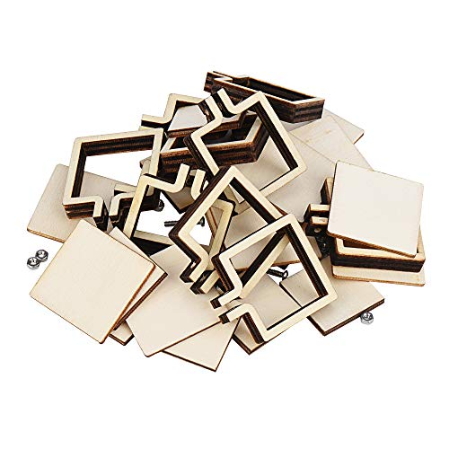 LIXINDEE 10 Pieces Wooden Mini Embroidery Hoop Rings for Embroidery, Cross Stitch and DIY Pendants (Square 3.6cm x 3cm)