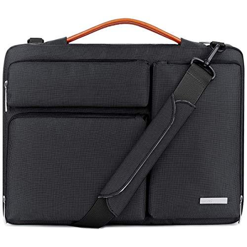 Lacdo 15.6 inch Protective Laptop Shoulder Bag Sleeve Case for 15.6' HP Pavilion 15/15s-fq1012, Acer Aspire 3 5 7/Predator, Dell Inspiron 15, Lenovo V155, Asus ZenBook 15/TUF FX505 Computer Bag, Black