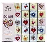 Dolfin Assortimento di 60 Mini Carrè Stampa Cuore in Cioccolato al Latte 38%, Latte e Nougatine, Fondente 70%, Fondente e Nougatine, Fondente e Arancia - 1 x 270 Grammi