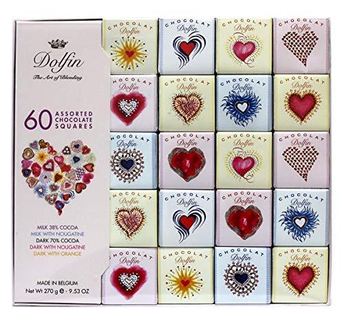 Dolfin Surtido de 60 Mini Carrè Corazón Impresión en Chocolate con Leche 38%, Leche y Nougatina, Fudge 70%, Oscuro y Nougatine, Oscuro y Naranja - 1 x 270 gramos